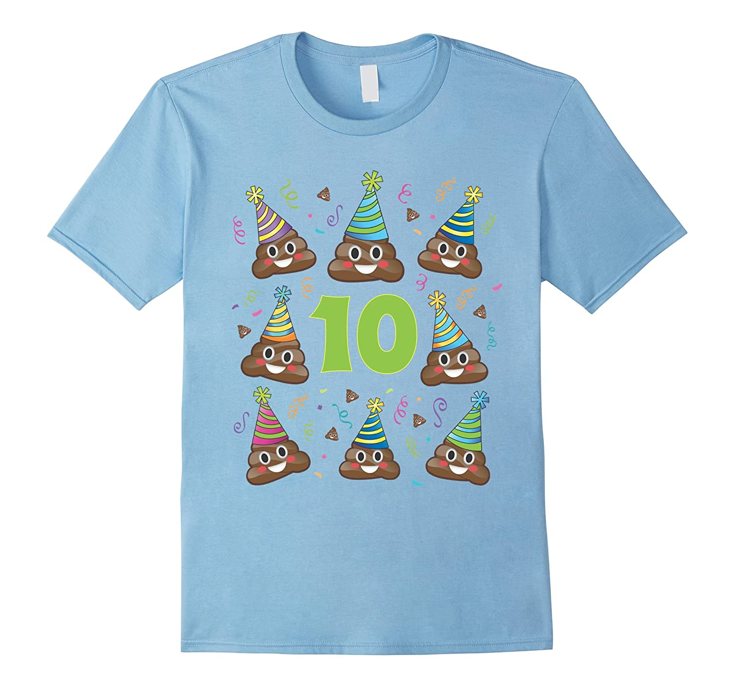 Poop Emoji Birthday Shirt 10 Ten Year Old Girl Boy Party PJ CD Canditee