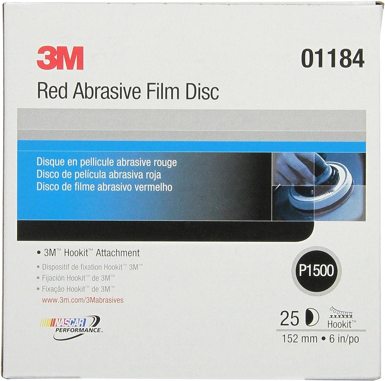3M Hookit Red Finishing Film Abrasive Disc 260L, 01184, 6 in, P1500, 25 discs per carton