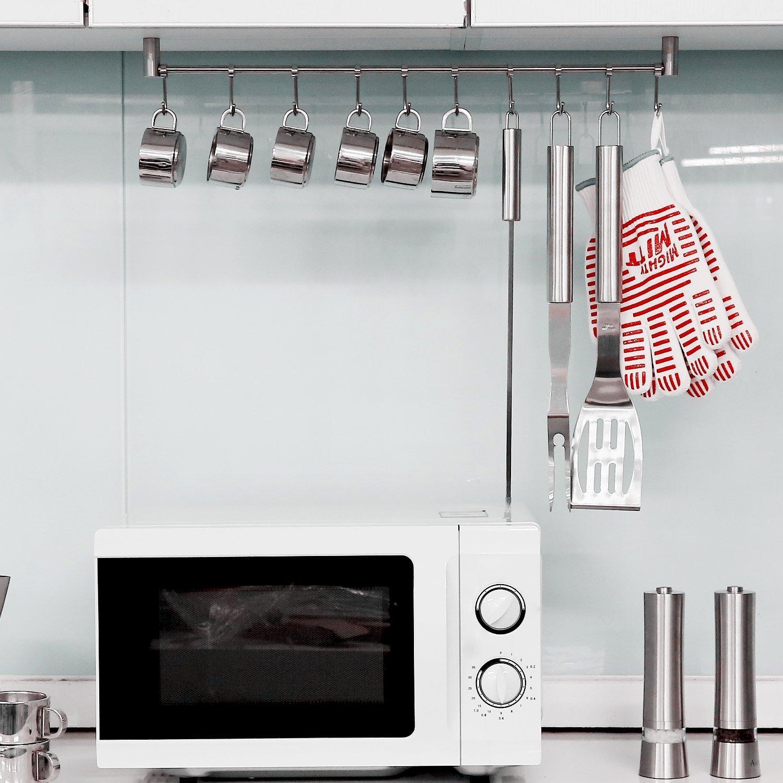 simpletome Hakenleiste Küche mit 10 Haken für Küchenhelfer ...