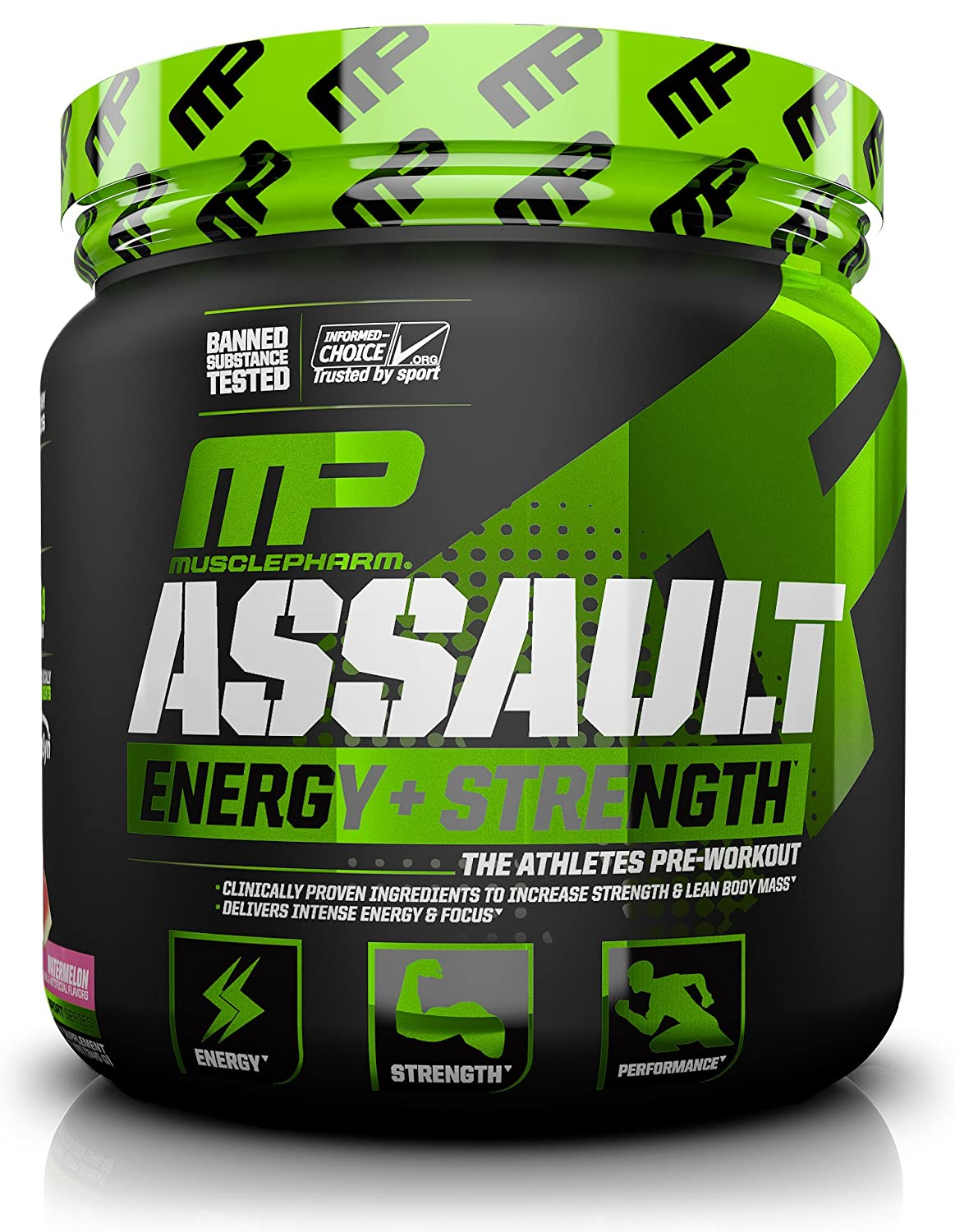 MusclePharm Assault Sport Pre-Workout Powder with High Dose Energy, Focus, Strength and Endurance - Creatine, Taurine and Caffeine, Watermelon, 30 Servings