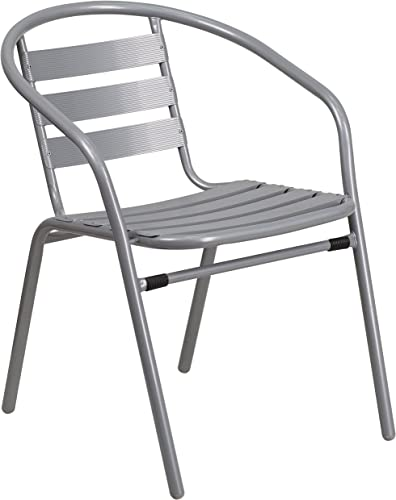 Flash Furniture 4 Pk. Silver Metal Restaurant Stack Chair with Aluminum Slats, 4-TLH-017C-GG