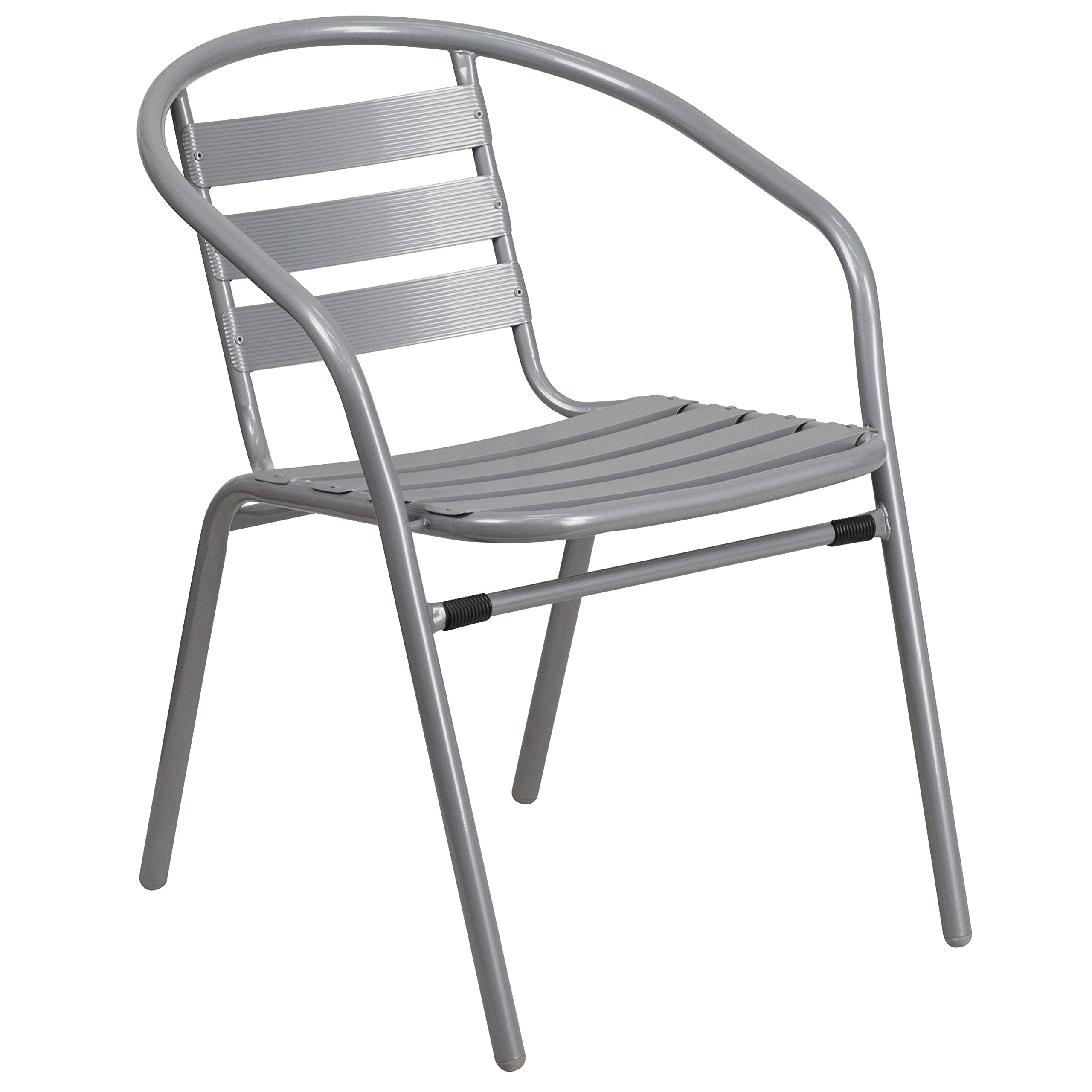 Flash Furniture 4 Pk. Silver Metal Restaurant Stack Chair with Aluminum Slats by Flash Furniture (Image #2)