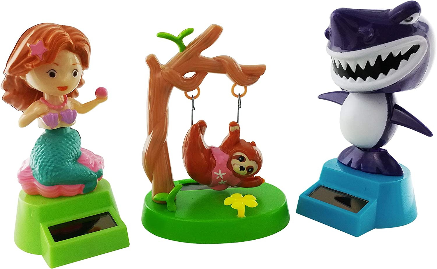 Outdoors By Design Solar Dancing Dashboard Mermaid, Sloth and Shark Toys are Solar Powered Figures | Also Called Solar Powered Bobble Head or Solar Powered Characters