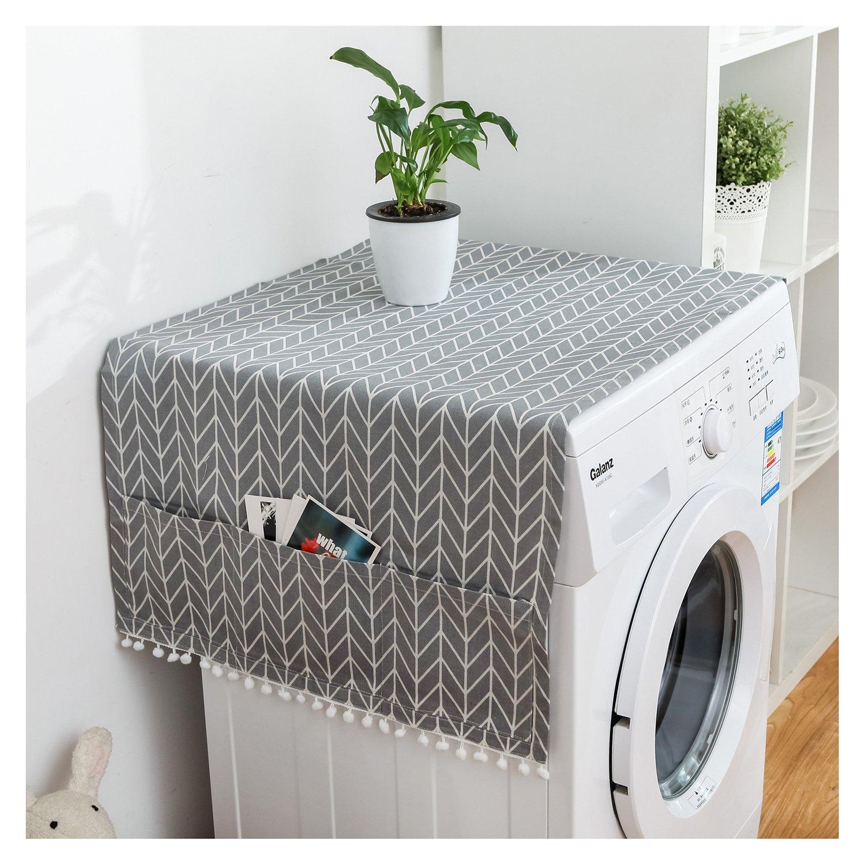 Fridge Dust Cover Multi-purpose Washing Machine Top Cover Refrigerator Dust Proof Cover (Gray) Demana