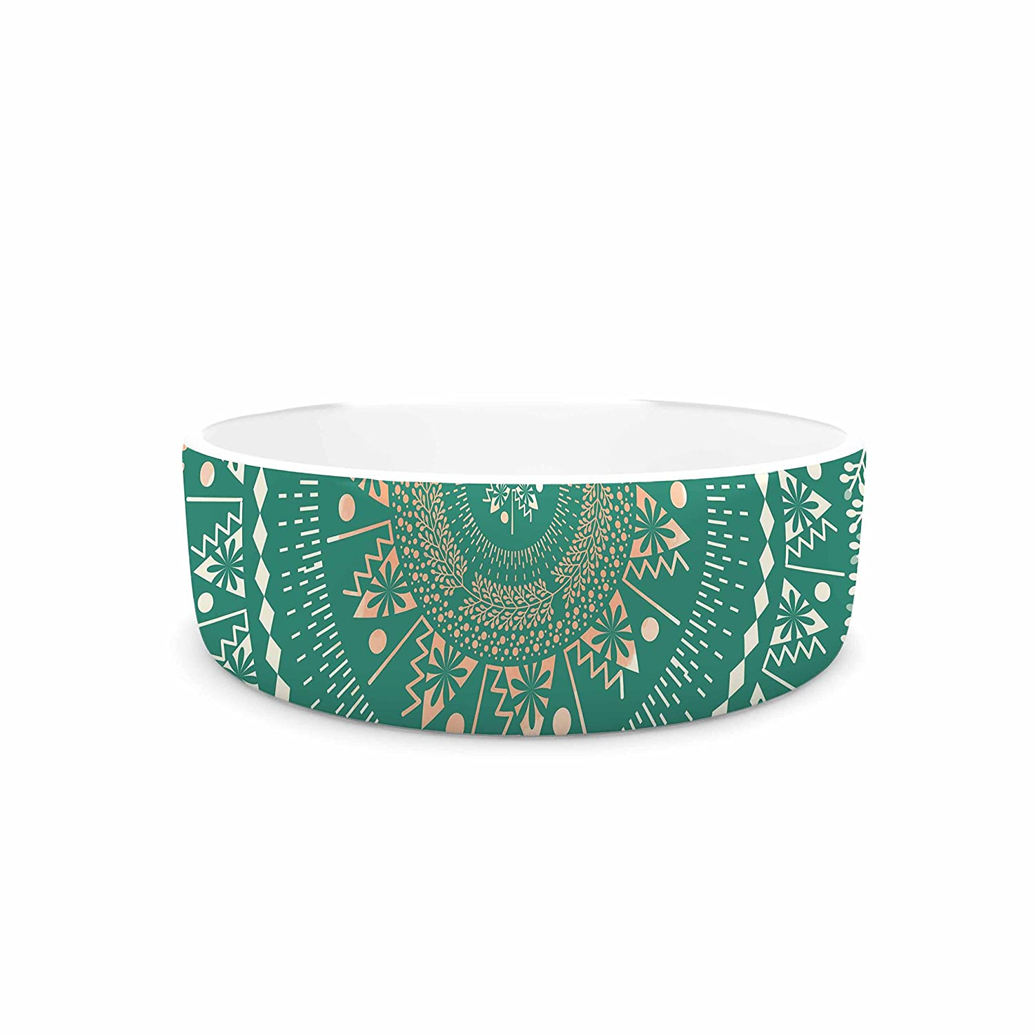 KESS InHouse Famenxt Mint Medallion  Mint Pattern Pet Bowl, 7