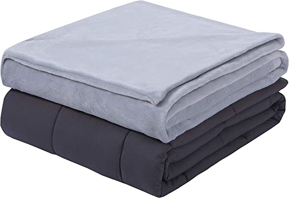 Weighted Blanket With Removable Cover 15lb 48 X72 Grey Home Kitchen