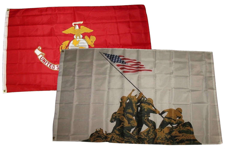 2 Pack 3x5 Marines EGA Marine Flag American Flag 3x5 Foot Grommets U.S