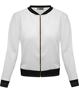 Amazon.com: Gillberry Bomber Jacket Womens Juniors Stretch ...