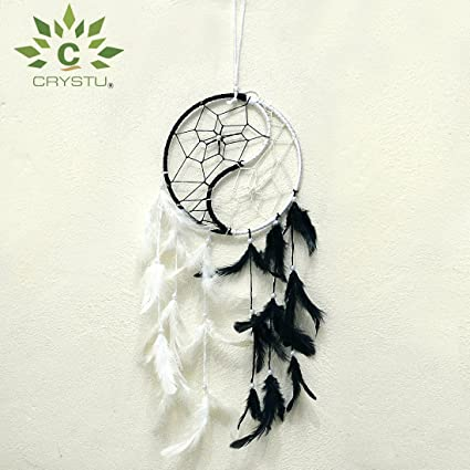 Crystu Yin Yang Dream Catcher Wall Hanging for Positive Energy, Thinking and Protections 45 x 15 cm Approx
