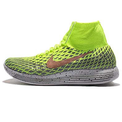 Nike Men's LunarEpic Flyknit Shield, VOLT/METALLIC RED BRONZE-DARK GREY, 7.5