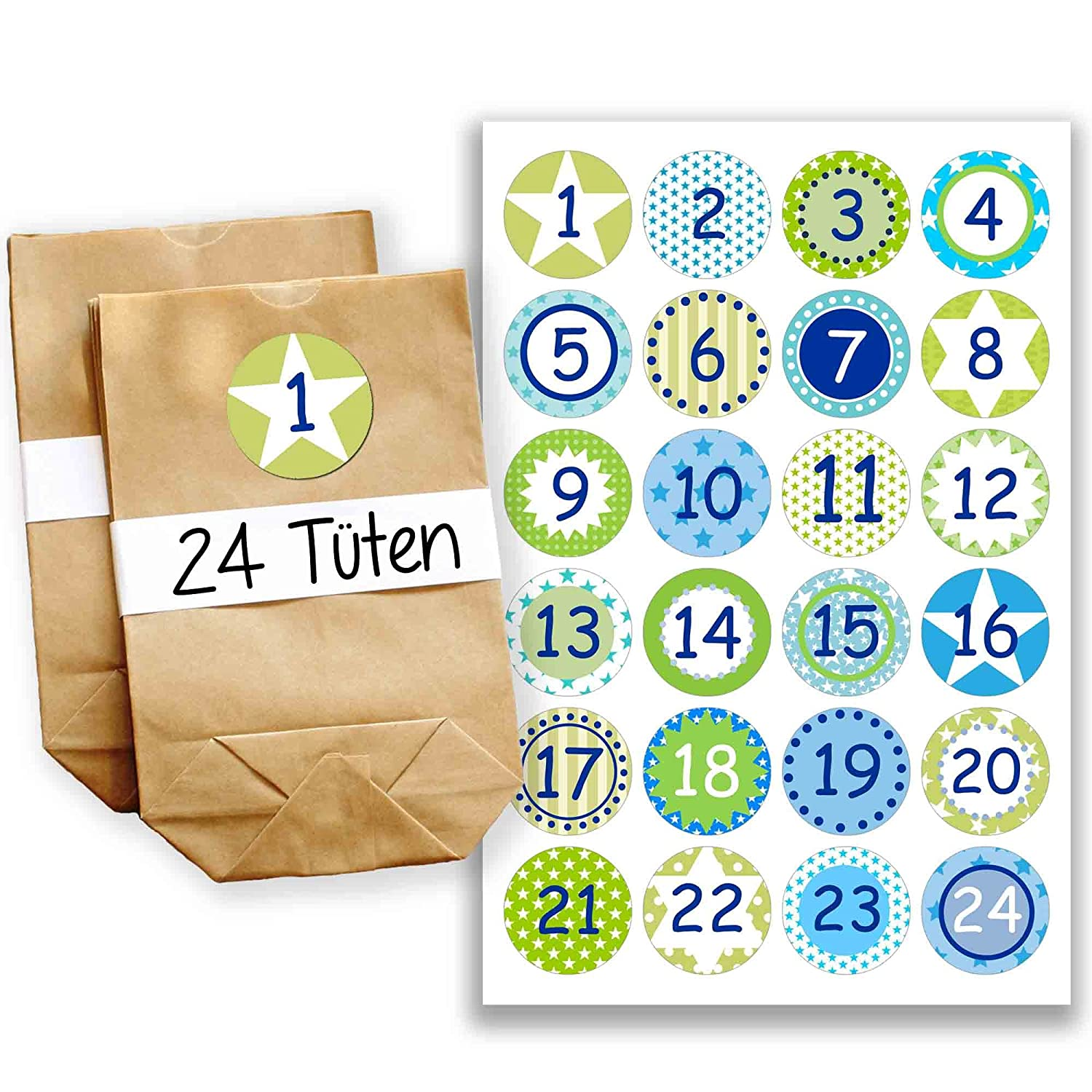 Papierdrachen Advent calendar mini set with 24 number stickers and paper bags - DIY Set - for making and filling - stickers No 9