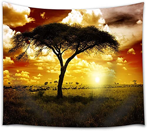Landscape Wall Tapestry King Size, African Tree and Wildlife Tapestry Wall Hanging Fabric Decor for Living Room Wall Art Blanket Sunset, 71 x 90