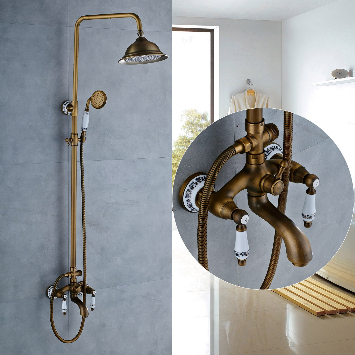 Rozin Porcelain Deco Tub Shower Faucet Set 8-inch Rainfall ...