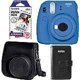 Fujifilm Instax Mini 9 Instant Camera - Cobalt Blue, Fujifilm Instax Mini Airmail Film, Fujifilm Instax Groovy Camera Case - Black and Fujifilm INSTAX WALLET ALBUM 108 BLACK