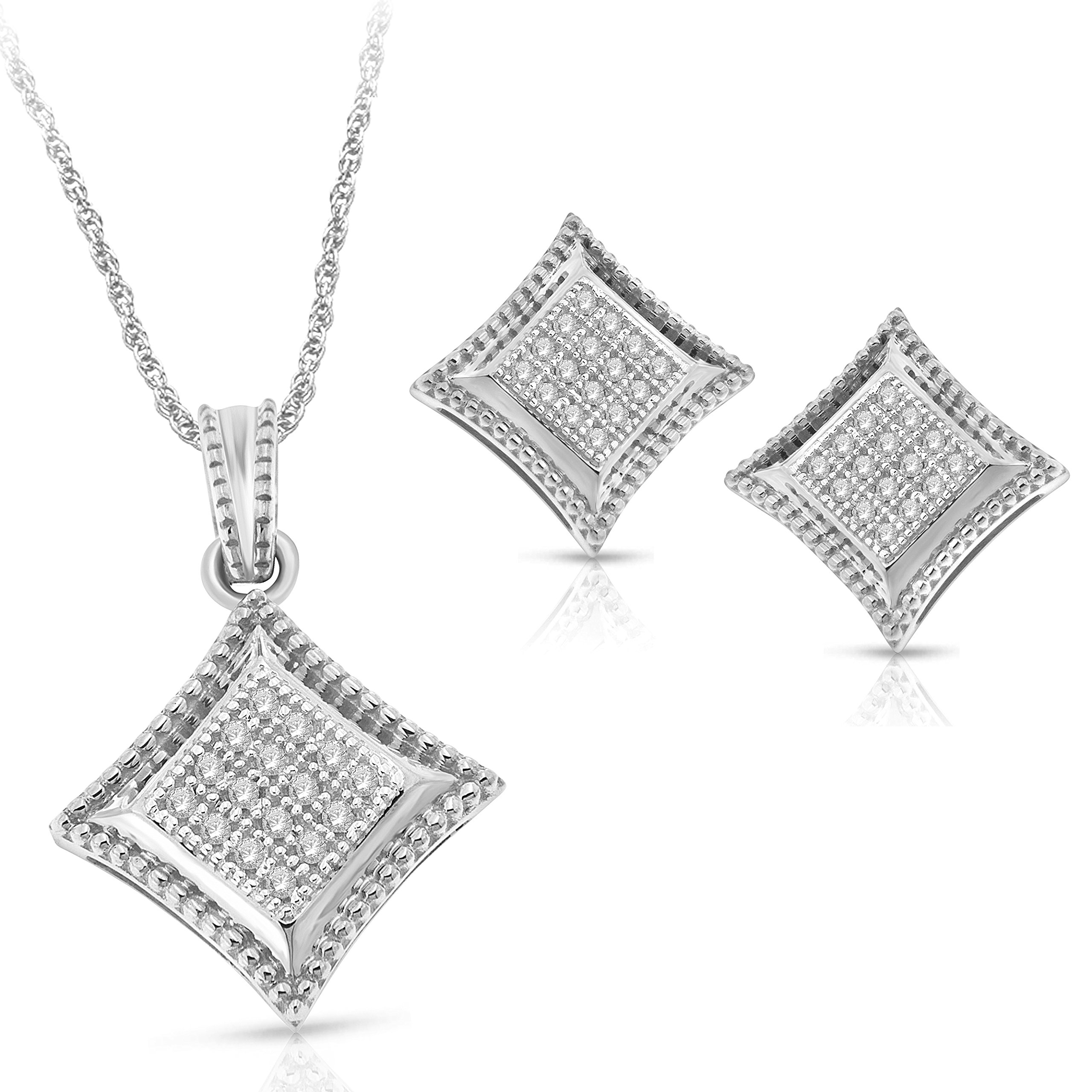 NATALIA DRAKE Blowout Sale 1/5cttw Kite Shape Diamond Pendant & Earring Set