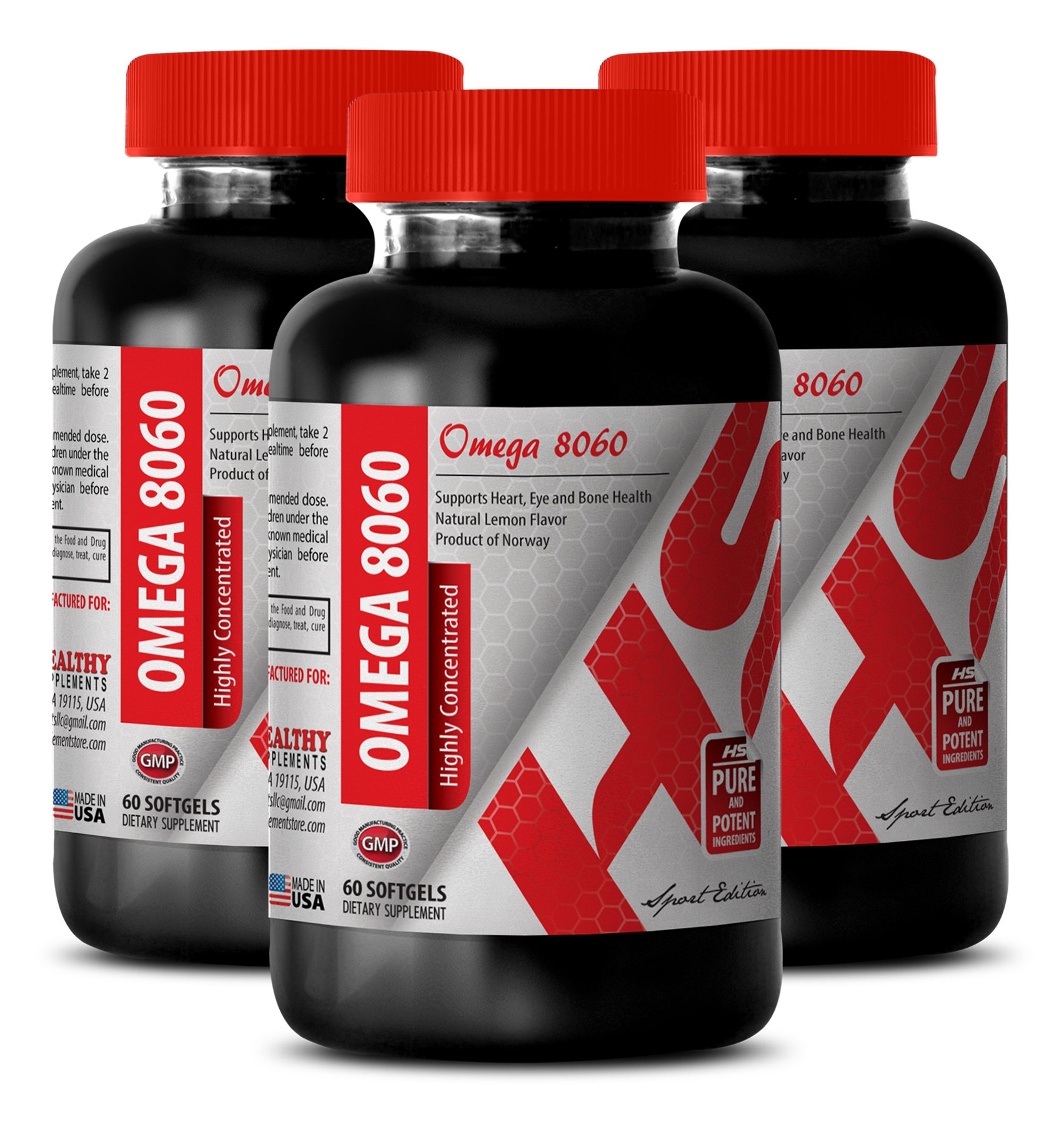Omega 9 supplement - HIGHLY CONCENTRATED OMEGA 8060 3000 MG - help in weight loss (3 Bottles) by Healthy Supplements LLC