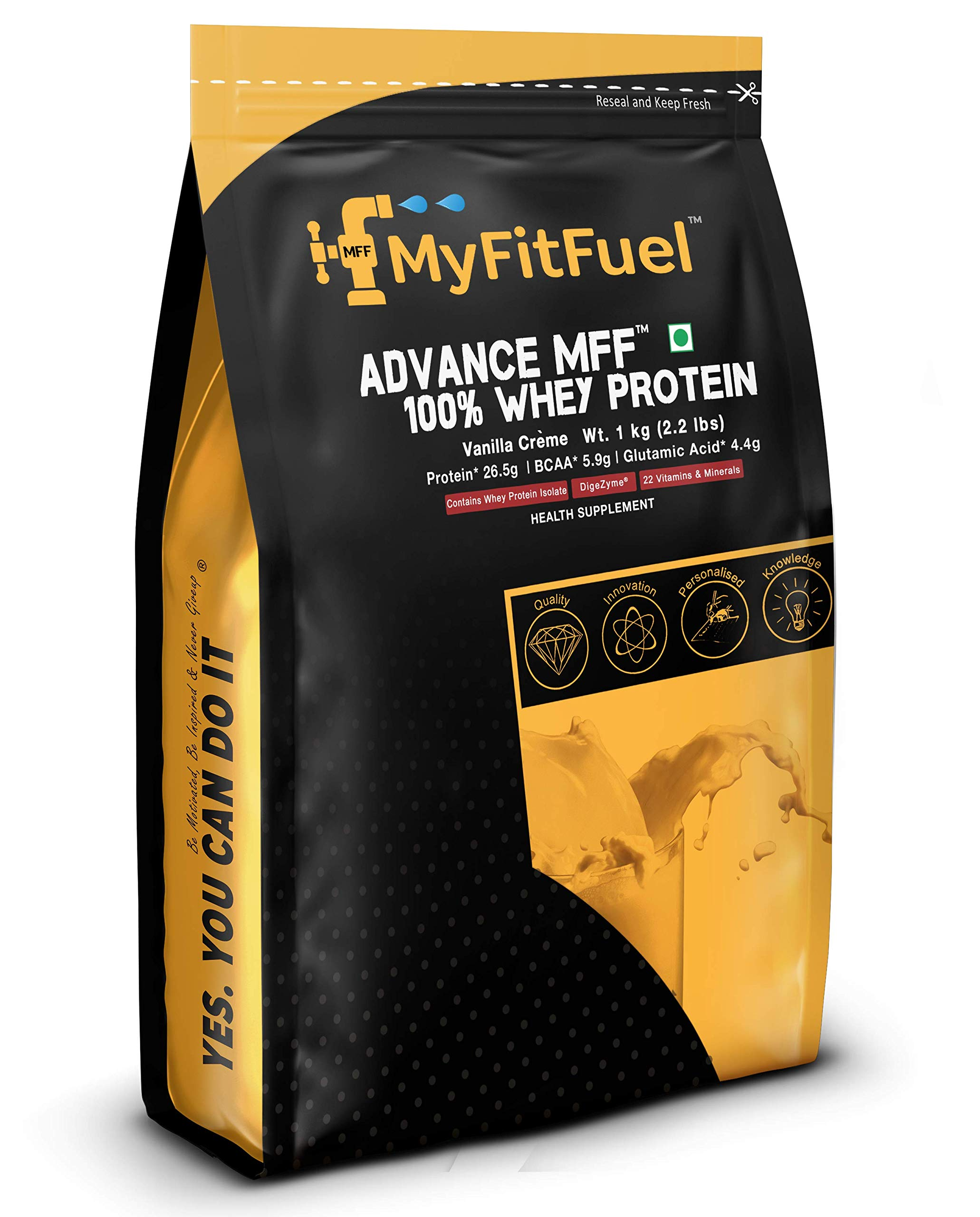 Myfitfuel Advance Mff 100% Whey Protein With Digestive Enzymes & Multi Vitamins (Vanilla Creme, 1 Kg) 28 Servings (B074SGYS23) Amazon Price History, Amazon Price Tracker