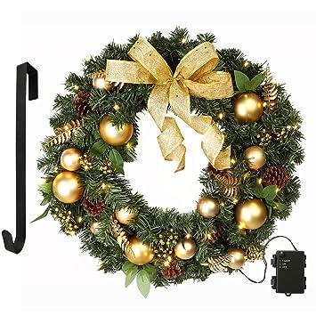 "LifeFair 24"" Christmas Wreath with 50 Clear Lights, Wreath Hanger and  Timer Included, - Amazon.com: LifeFair 24"