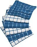 "DII 100% Cotton, Machine Washable, Ultra Absorbant, Basic Everyday 12 x 12"" Terry Kitchen Dish Cloths, Windowpane Design, Set of 6- Blueberry"