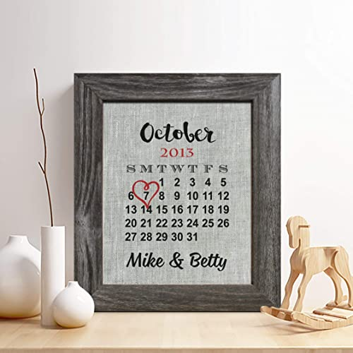 Personalized 4th Linen Anniversary Gift for Him or Her Wedding Date Calendar Linen Print  sc 1 st  Amazon.com & Amazon.com: Personalized 4th Linen Anniversary Gift for Him or Her ...