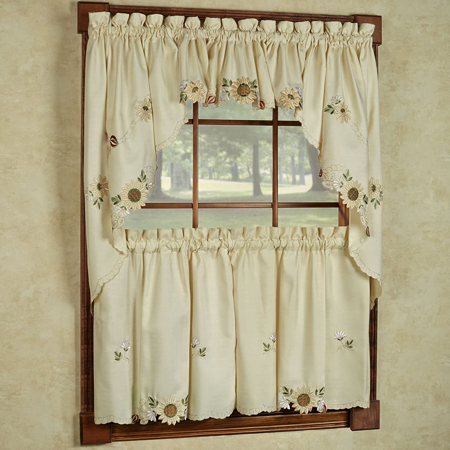 """Sweet Home Collection 5 Pc Kitchen Curtain Set, Swag Pair, Valance, Choice of 24"""" or 36"""" Tier Pair"""