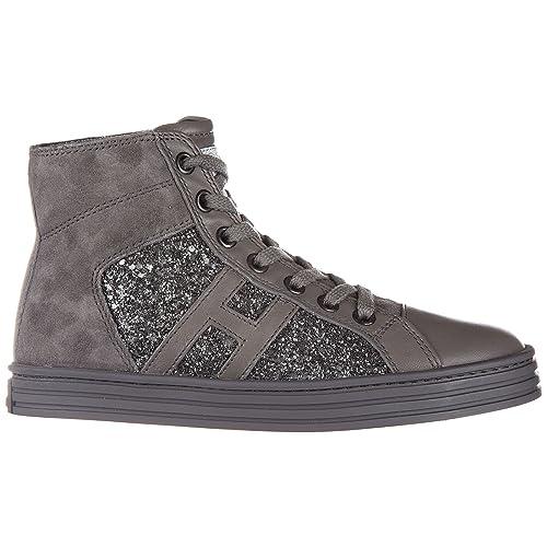 a3e00e5b75993 Hogan Rebel scarpe sneakers bambina alte camoscio nuove r141 allacciato  tessuto grigio EU 34 HXC1410P991E1AB401  Amazon.it  Scarpe e borse