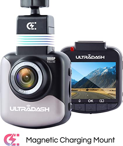 UltraDash Dash Cam, Full HD 1080P 30fps, Magnetic Charging Mount, HDR High-end Night Image Sensor, 6 Layers Glass F1.8 140 Degree Wide Angle Lens, G-Sensor, 2 Inch LCD, Super Capacitor, Loop Recording