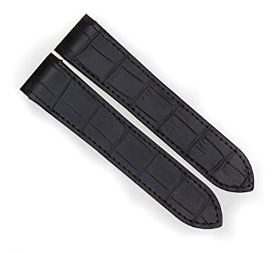 cc0a9654487 Image Unavailable. Image not available for. Color  23mm Black Grain Leather  Strap Watch Band Fits CARTIER SANTOS 100 XL ...