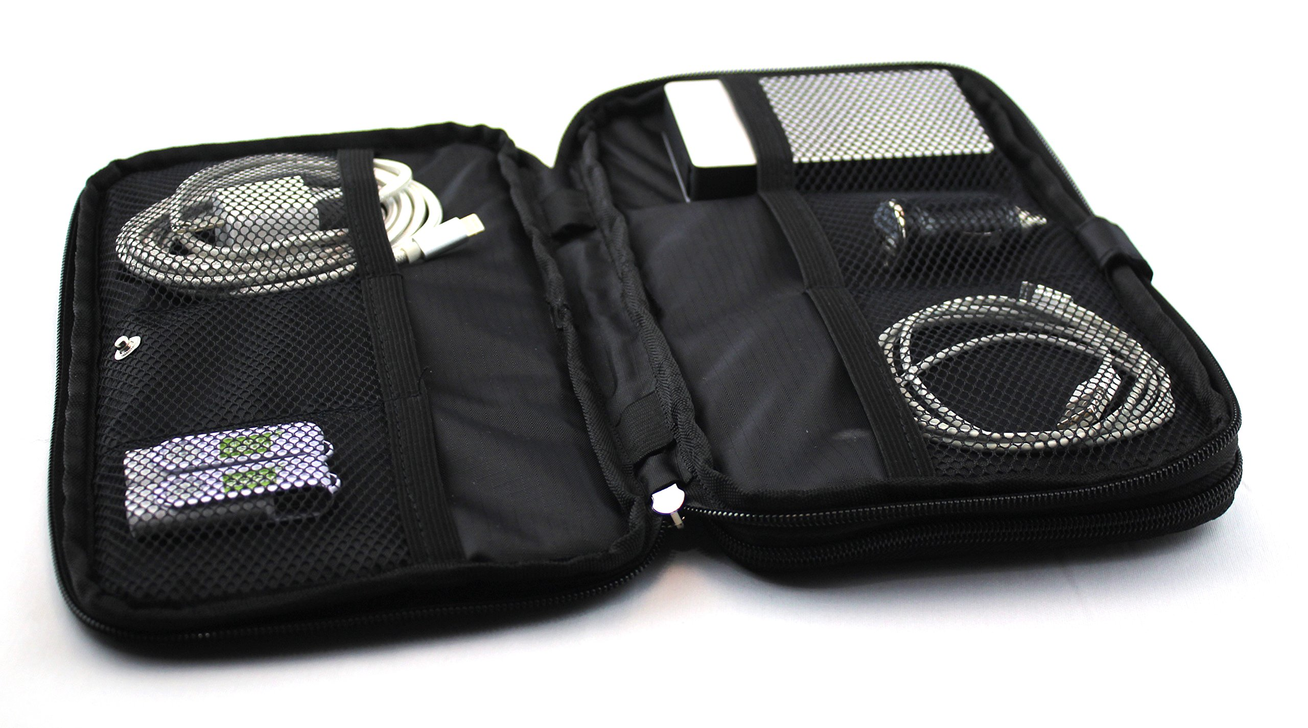 TRAVEL FUSION Electronic Travel Organizer - Padded travel bag with expandable zippered compartments and mesh dividers.