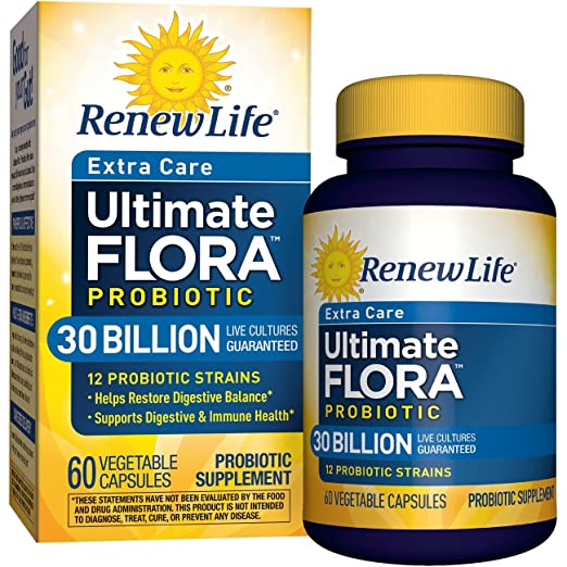 Renew Life Ultimate Flora Probiotic Extra Care 30 Billion Vegetable Capsules, 60 Count