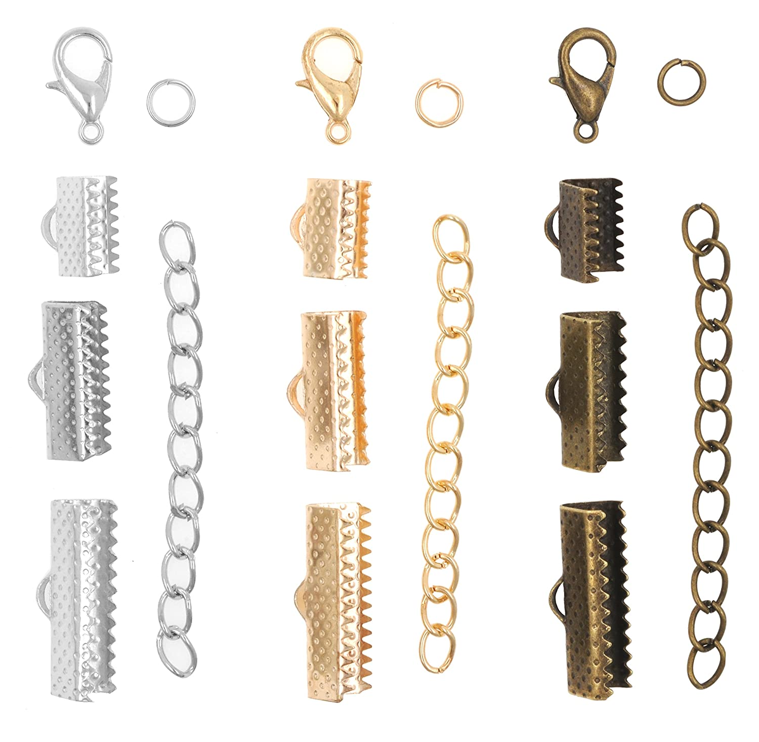 Jewelry Making Crimp Pinch Clasp Finding Box Kit for Bookmark Ribbon Clamp with Loop Mandala Crafts Fold Over Cord End Ribbon Flat Clamps