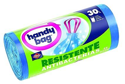 Handy Bag - Bolsas basura 30 L con autocierre - Resistentes antibacterias - 15 unidades - [pack de 3]
