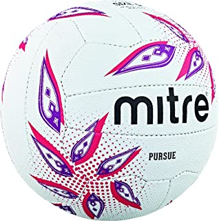 mitre Ballon Match de Netball Pursue - Blanc/Magenta/Mauve