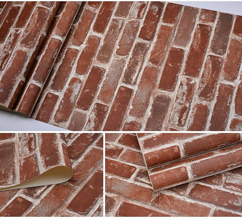 Blooming Wall Vintage Rust Faux Brick Textured Wallpaper for Livingroom Kitchen Bathroom,Large Size 57104 54 Square ft//roll