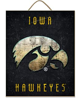 Black WinCraft NCAA University of Iowa Wood Fence Sign