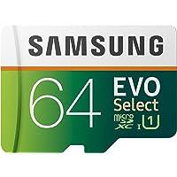 Samsung EVO Select 64 GB microSD 100 MB/s, Velocidad, Full HD & 4K UHD, Tarjeta de Memoria Incluye Adaptador SD para…