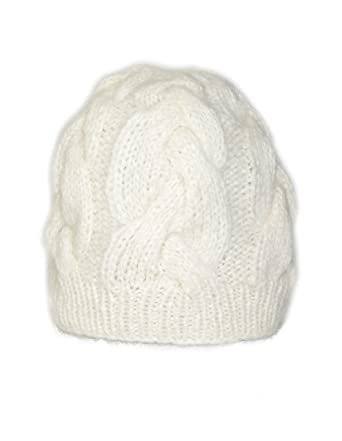 b5d2ad52a7d72 Invisible World Women s Alpaca Blend Hand Knit Cable Knit Beanie Hat Ivory