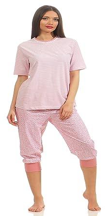 afecbcff7eaa40 Normann Damen Capri Schlafanzug Pyjama Kurzarm auch in Übergrössen 204 90  838, Farbe:rosa