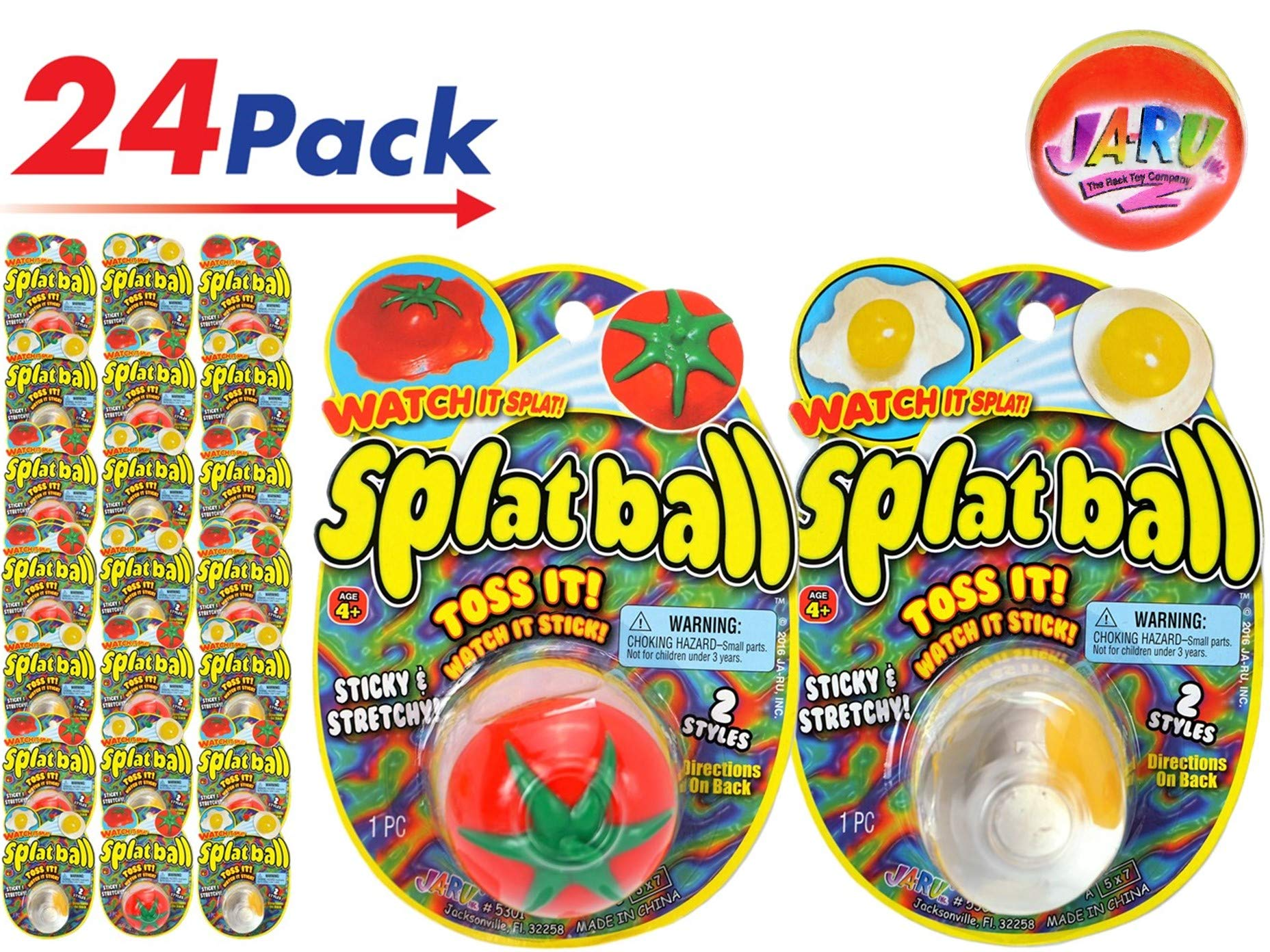 JA-RU Splat Ball Sticky & Stretchy (Pack of 24) Egg & Tomato. 5301-24