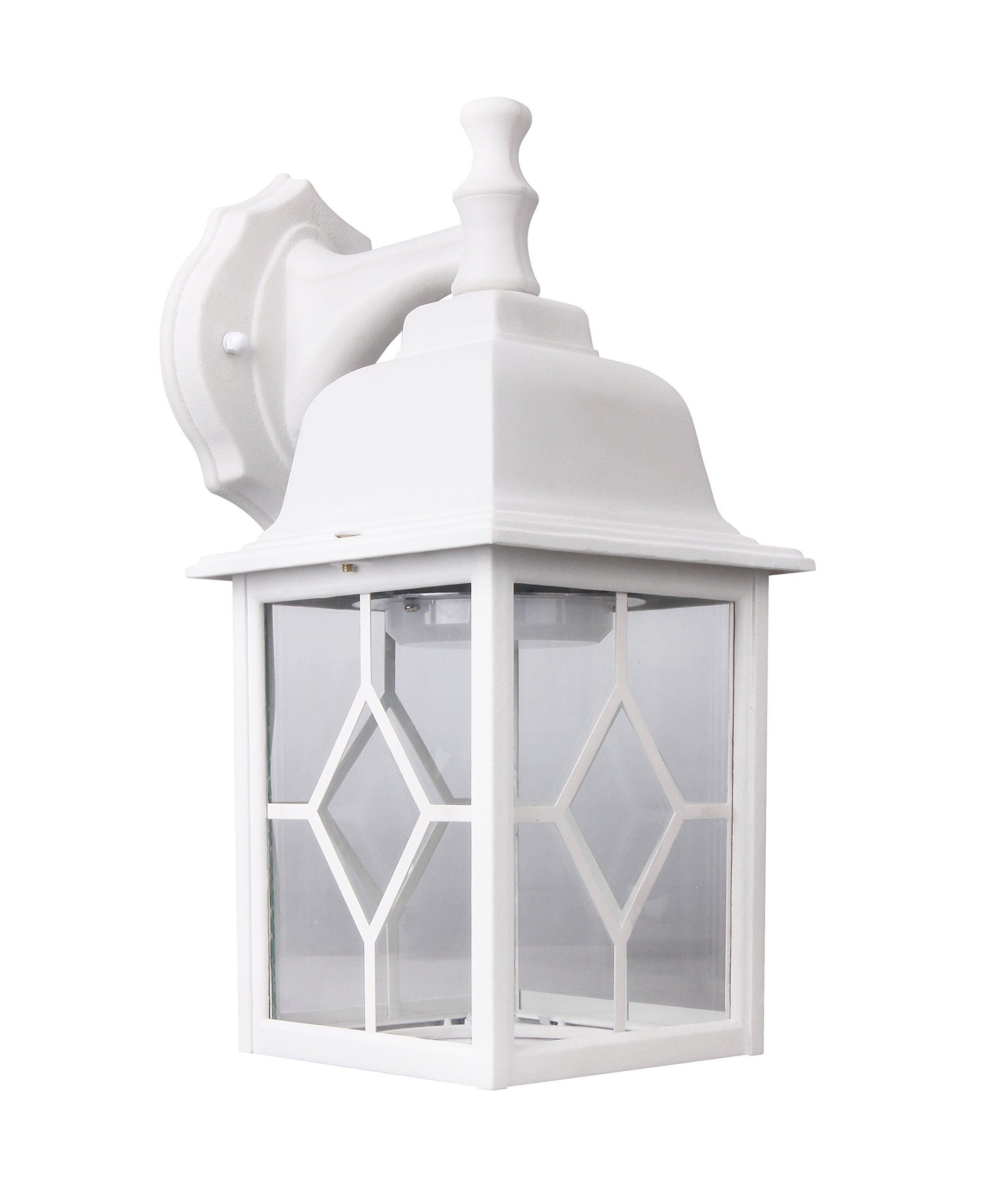 Lit-Path Outdoor LED Wall Lantern, Wall Sconce as Porch Light, 11W (100W Equivalent), 1000 Lumen, Aluminum Housing Plus Glass, Matte White Finish, Outdoor Rated, ETL and ES Qualified