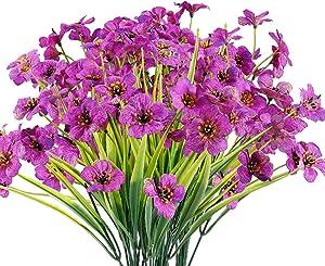 JEMONG 12 Bundles Artificial Flowers Outdoor UV Resistant Fake Flowers No Fade Faux Plastic Plants Garden Porch Window Box Decorating (Purple)