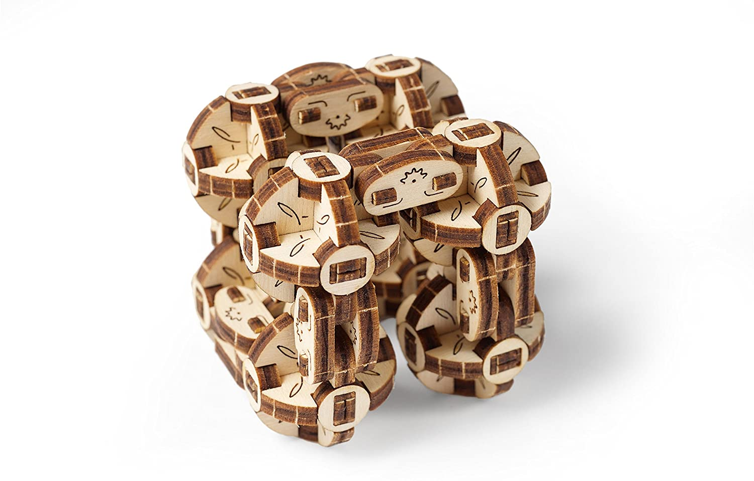 UGears Flexi-Cubus – Mechanical Puzzle Flexi-Cubus- Anti-stress 3D Puzzle- Improves Attention and Focus- Self Assembly Model- 144 Pieces Model