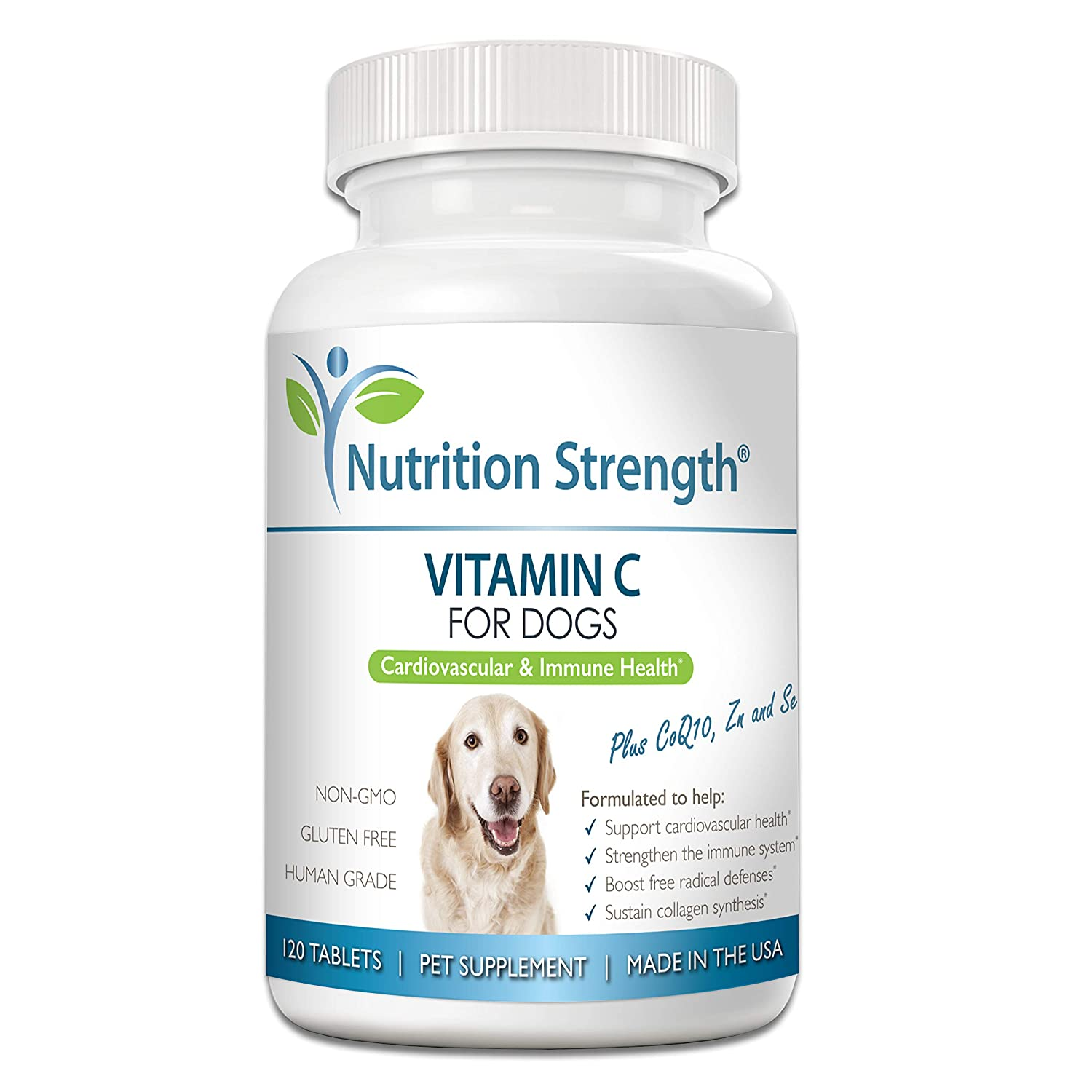 Nutrition Strength Vitamin C for Dogs to Support Cardiovascular Health, Help Strengthen The Immune System, Boost Free Radical Defenses and Sustain Collagen Synthesis, 120 Chewable Tablets