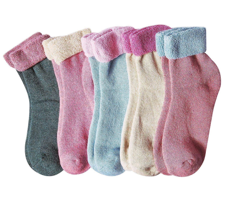 5 Pairs Womens Winter Soft Warm Wool Knitting Cotton Casual Crew Socks