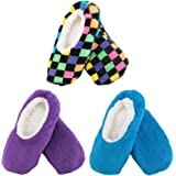 BambooMN Adult Size Medium/Large Super Soft Warm Cozy Fuzzy Indoor Home Travel Slippers Non-Slip Lined Socks