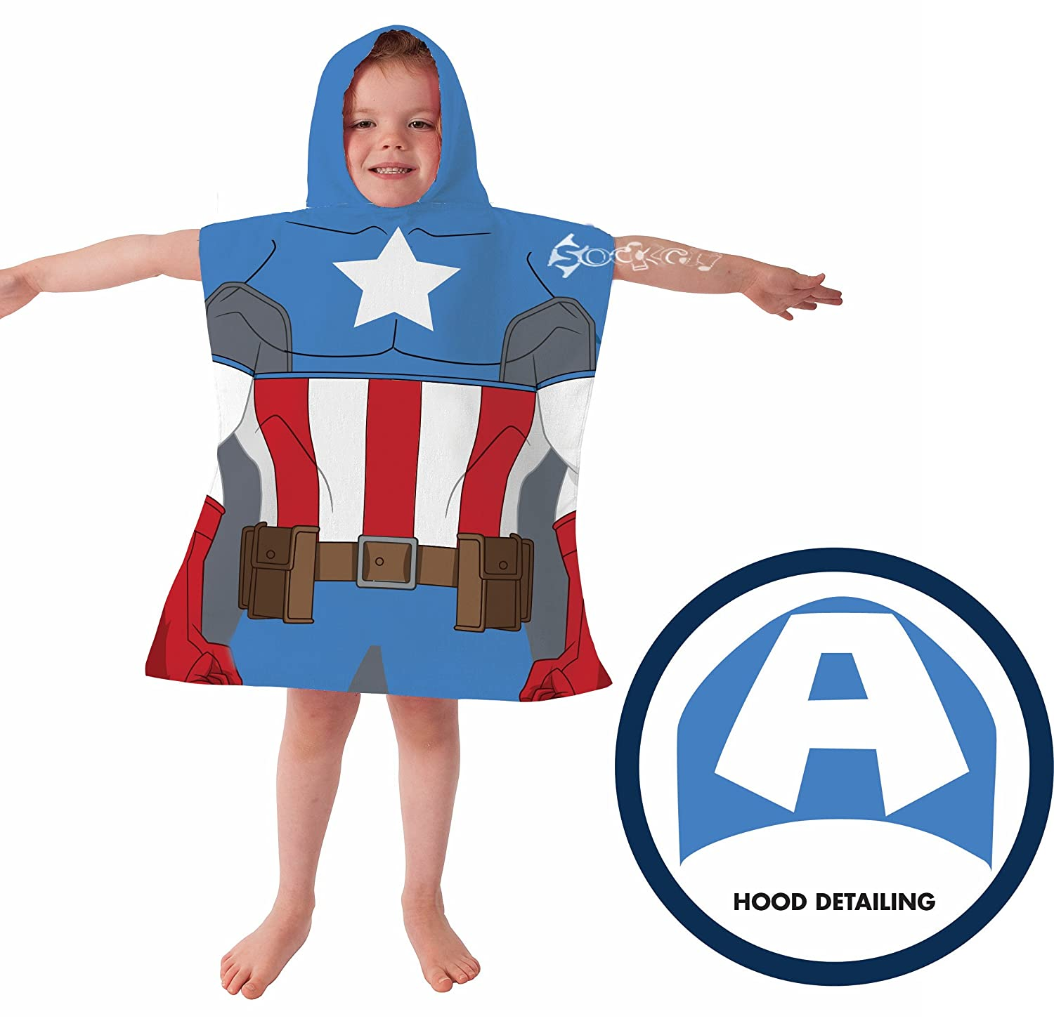 Marvel Avengers Captain America Poncho Hooded Towel Kidco