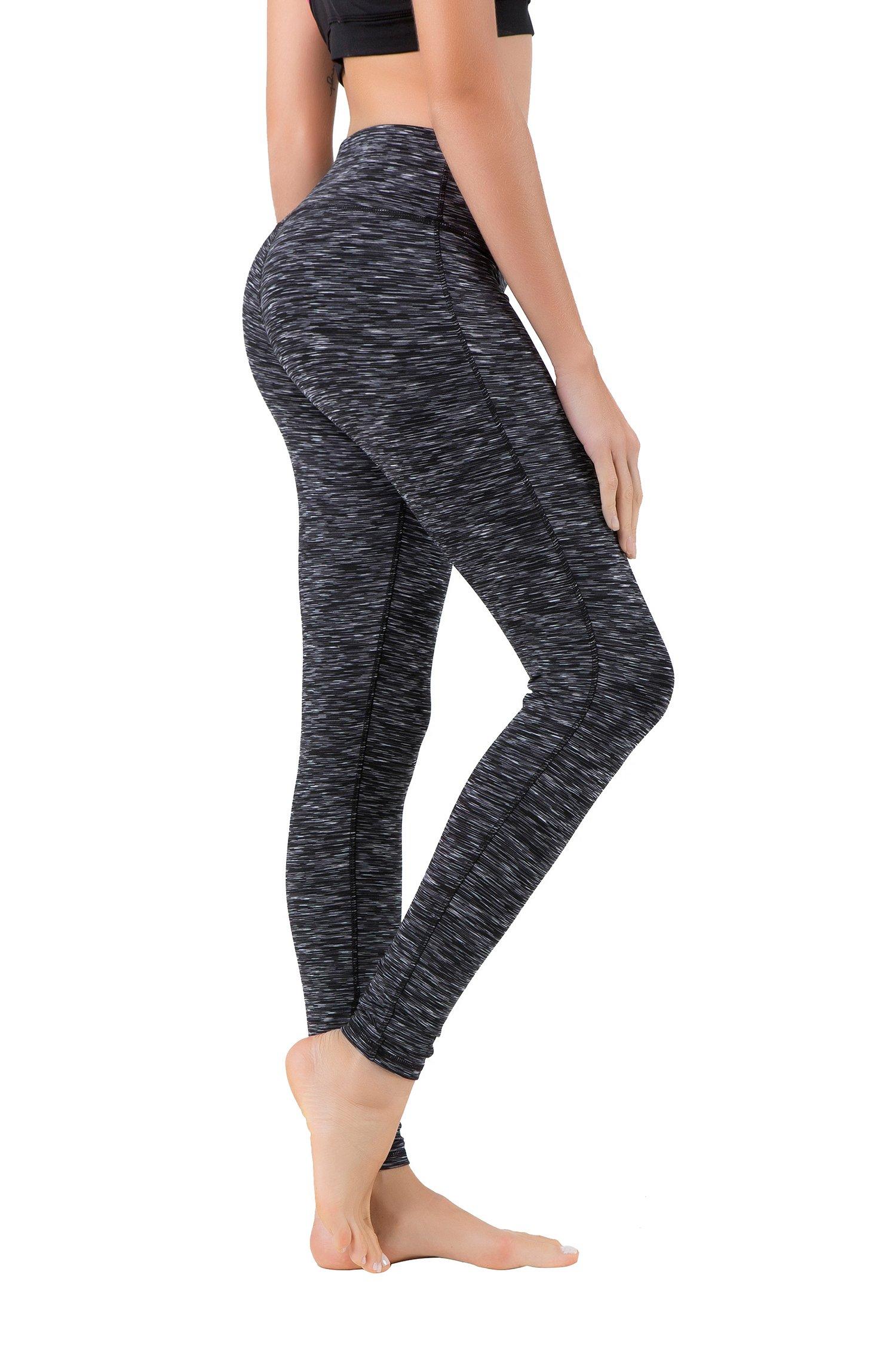 Queenie Ke Women Power Flex Yoga Pants Workout Running Leggings Size XS Color Black Grey Space Dye Long