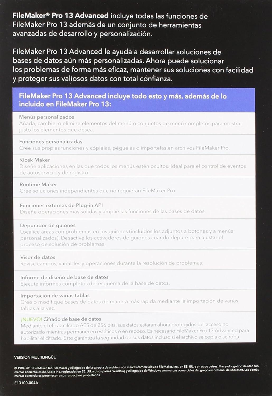 Amazon.com: FileMaker Pro 13 Advanced - Spanish