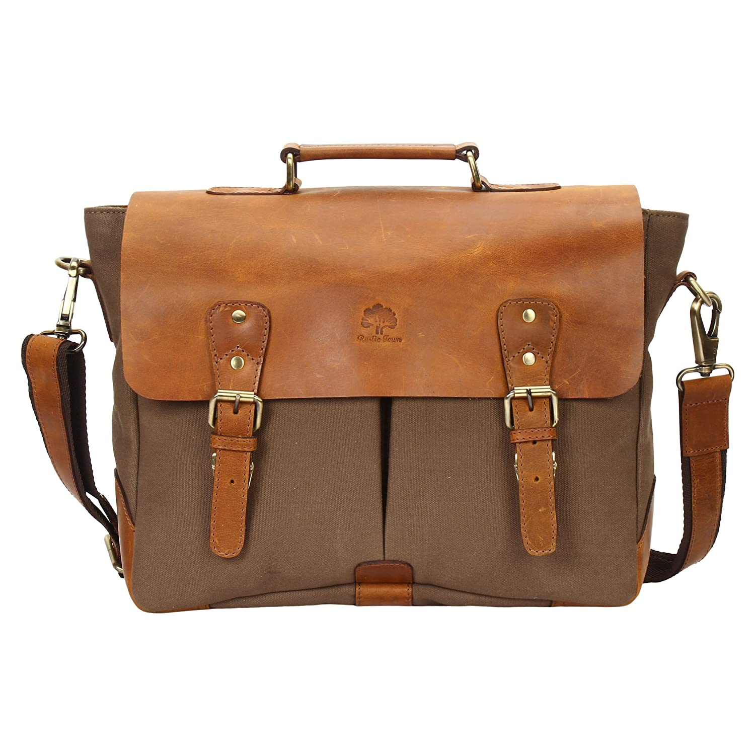 15 Inch Rustic Town Handmade Leather Canvas Vintage Crossbody Messenger Bag Gift Men Women Travel Work ~ Carry Laptop Computer Books ~ Sling Shoulder Bag ~ Everyday Office College School Satchel RusticTown SHC151104ADN-OG