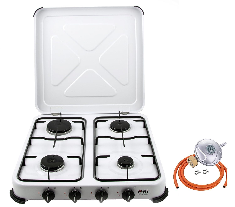 nj-04 portátil estufa de gas quemador de 4 esmalte blanco tapa Camping al aire libre 5,45 kW: Amazon.es: Hogar